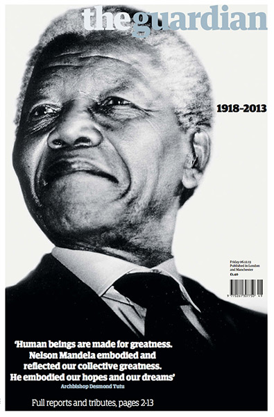 Guardian front cover of Nelson Mandela's death 5th December 2013