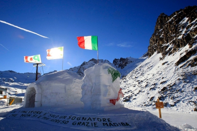 Mandela Mourning-A message to Mandela is carved in the snow below an igloo that's also the highest polling station in Italy on Sunday. The sentence in the snow reads, A winner is just a dreamer who never gave up, thanks Madiba.
