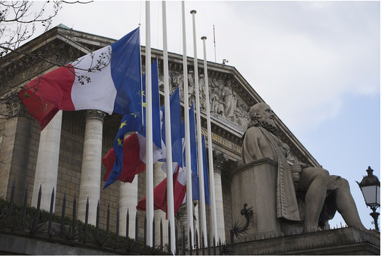 Mandela Mourning- Flags fly at half mast in front of French Assembly in Paris