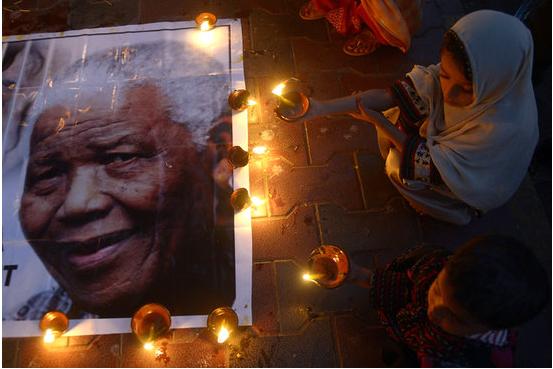 Mandela Mourning- People gathered for a vigil in Karachi Pakistan