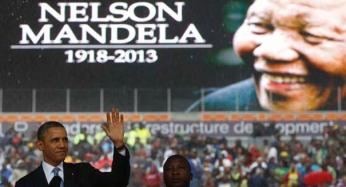 Obama attends a memorial service for Nelson Mandela in Johannesburg, South Africa