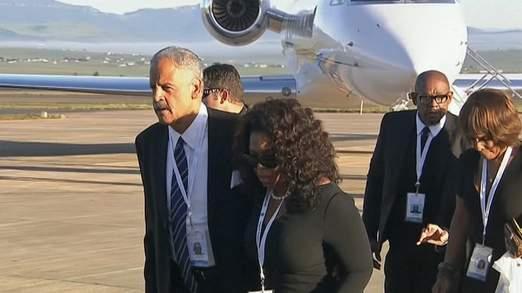 Oprah Winfrey arrived with long-time partner Stedman Graham in Qunu South Africa
