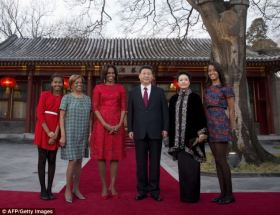 Flotus China Tour- Charming- Michelle Obama, her daughters Malia and Sasha and her mother Marian Robinson greeted Chinese President Xi Jinping and his wife, Peng Liyuan