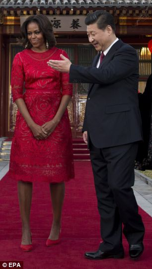 Flotus China Tour-Pleased-- During the visit, the Chinese President said he 'cherished' his 'sound relationship' with Barack Obama