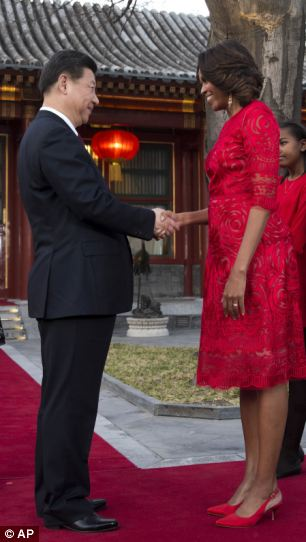 Flotus China Tour- Pleased- During the visit, the Chinese President said he 'cherished' his 'sound relationship' with Barack Obama