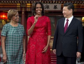 Flotus China Tour- Visit- The First Lady, pictured with Ms Robinson and Xi visited Diaoyutai state guesthouse in Beijing