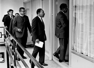 Dr. King entering the Lorraine Hotel