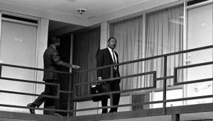 Dr. King on balcony of Lorraine hotel