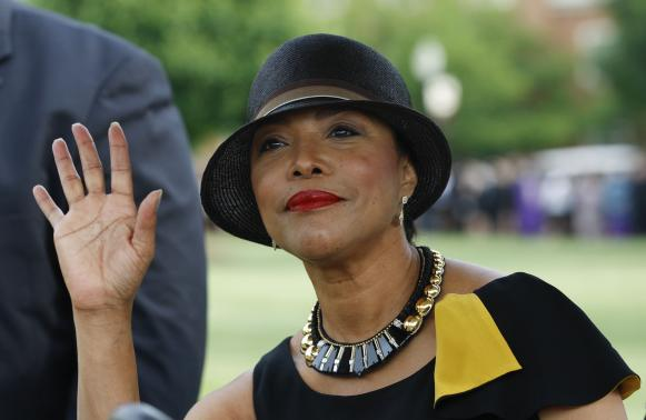 Actress Whitfield arrives at the memorial service for Maya Angelou at Wake Forest University in Winston-Salem