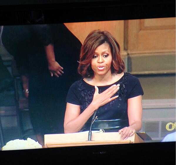 Flotus speaking at Maya Angelou service