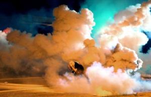 Ferguson citizen engulfed in tea gas.