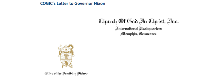 COGIC Letter to Jay Nixon