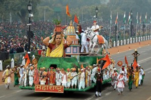 A float rolls down Rajpath during a rehearsal for Republic Day celebrations in New Delhi.