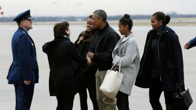 US President Obama and first family arrive at Joint Base Andrews Maryland after holiday vacation in Hawaii