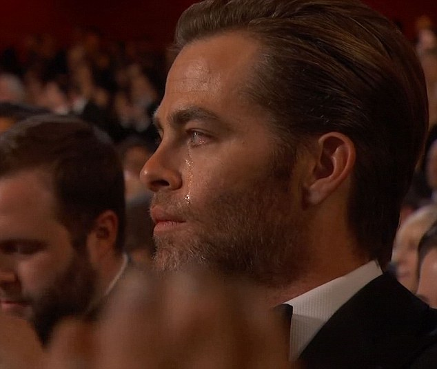 Chris Pine had tears running down his face.