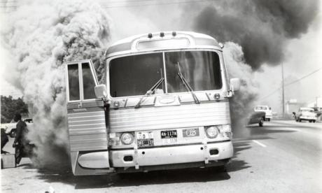 Freedom Riders- Fire bombed bus