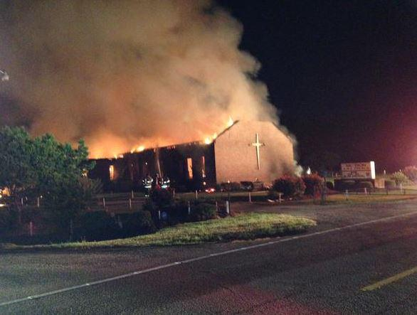 AME church located in Greeleyville SC is on fire.  Massive flames, gone multi-alarm