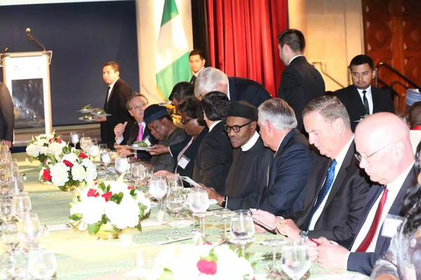 Buhari at a dinner hosted by the US Chambers of Commerce & the Corporate Council on Africa. 2