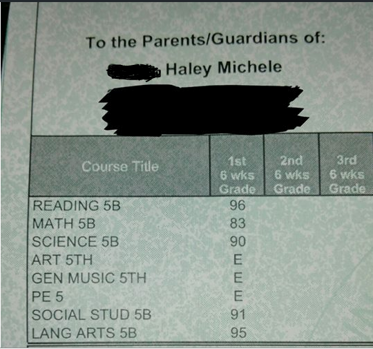 Haley honor roll this 1st six weeks