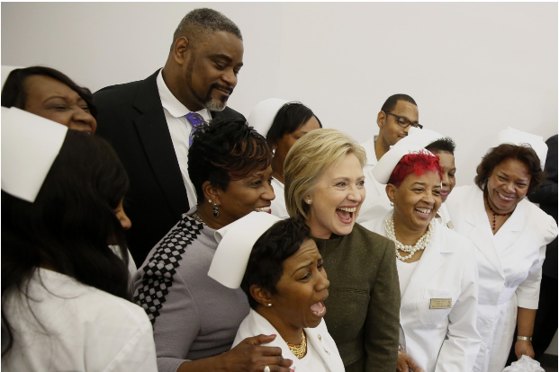 Hillary Clinton is shown after a community meeting at the House of Prayer Missionary Church in Flint, Mich., on Sunday. Jeff Kowalsky-Bloomberg