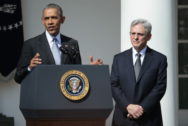 WASHINGTON, DC - MARCH 16:  U.S. President Barack Obama (L) stands with Judge Merrick B. Garland, while nominating him to the US Supreme Court, in the Rose Garden at the White House, March 16, 2016 in Washington, DC. Garland currently serves as the chief judge on the United States Court of Appeals for the District of Columbia Circuit, and if confirmed by the US Senate, would replace Antonin Scalia who died suddenly last month. (Photo by Chip Somodevilla/Getty Images)