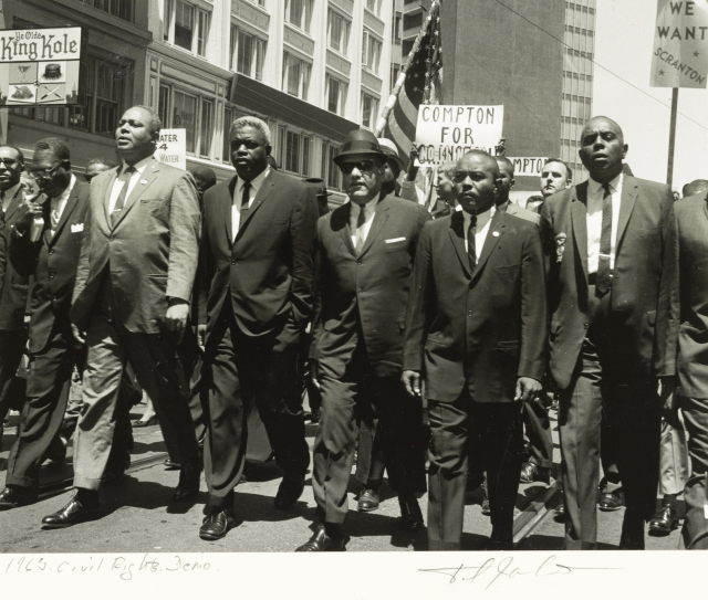Summary: Photograph shows Jackie Robinson and others marching for civil rights in San Francisco.