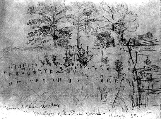 "Union Soldiers cemetery, ""Martyrs of the Race course,"" Charleston, S.C A pencil drawing and a grainy photo in the Library of Congress are all that is left of the cemetery where 257 Union soldiers were buried after the Civil War on what had been a race course in Charleston, South Carolina."