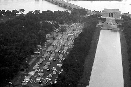 1968  Aerial view of RESURRECTION CITY near the Lincoln Memorial, Washington, DC, during the POOR PEOPLE'S CAMPAIGN.