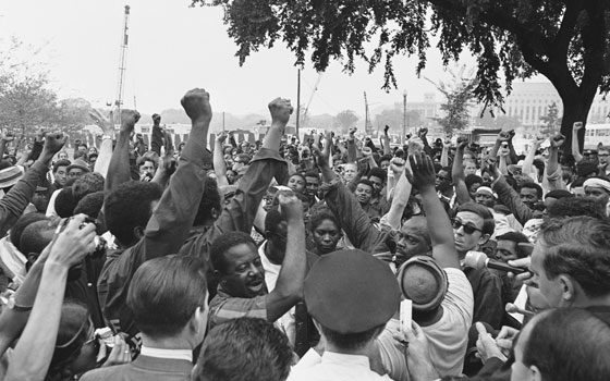 Ralph Abernathy (center facing, short sleeves), leader of the Poor People's Campaign, near the grounds of the US Capitol Building on June 24, 1968.