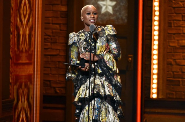 "NEW YORK, NY - JUNE 12:  Actress Cynthia Erivo accepts the award for Best Performance by an Actress in a Leading Role in a Musical in ""The Color Purple"" onstage during the 70th Annual Tony Awards at The Beacon Theatre on June 12, 2016 in New York City.  (Photo by Theo Wargo/Getty Images for Tony Awards Productions)"