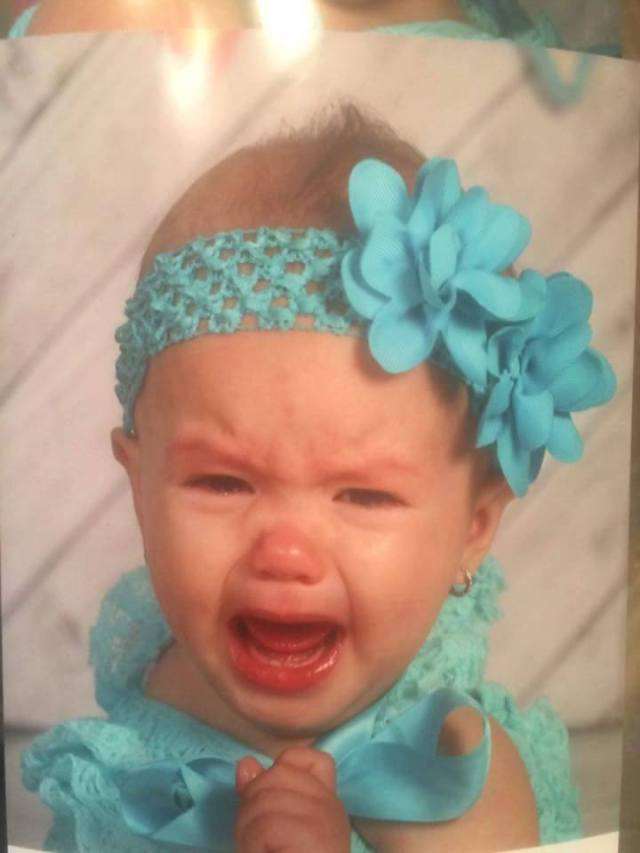 Parker crying on picture day