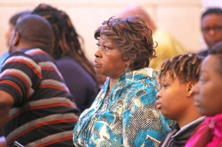 Audrey DuBose, center, mother of Sam DuBose during the trial of Ray Tensing, former University of Cincinnati charged with murder of Sam DuBose during a routine traffic stop on July 19, 2015. Tensing's lawyer, Stew Mathews has said Tensing fired a single shot because he feared for his life. The presiding judge is Megan Shanahan. Two of Sam DuBose's daughters are at right. Teaila Williamston, and Raegan Brooks, far right. The Enquirer/ Cara Owsley