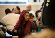 Tues., Nov. 1, 2016: Sam Dubose's daughter, Raegan Brooks, watches as Ray Tensing is escorted out of the courtroom on the first day the jury heard the murder trial of Ray Tensing in the death of Sam DuBose. Tensing is out on bond. The Enquirer/Carrie Cochran Tensing, the former University of Cincinnati police officer is charged with murder in the shooting death of Sam DuBose. His attorney Stew Mathews has said Tensing fired a single shot because he feared for his life.