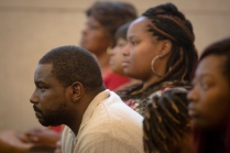 Tues., Nov. 1, 2016: Aubrey DuBose, Sam DuBose's brother, listens to opening statements alongside his family on the first day the jury heard the murder trial of Ray Tensing in the death of Sam DuBose. The Enquirer/Carrie Cochran Tensing, the former University of Cincinnati police officer is charged with murder in the shooting death of Sam DuBose. His attorney Stew Mathews has said Tensing fired a single shot because he feared for his life.