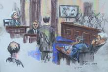 Sketch showing the 2-hour video confession being shown to jurors on Dec. 9, 2016. (Source: Robert Maniscalco)