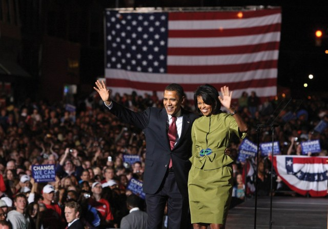 -- PHOTO MOVED IN ADVANCE AND NOT FOR USE - ONLINE OR IN PRINT - BEFORE NOV. 6, 2016. -- FILE -- Sen. Barack Obama and Michelle Obama on stage for a victory rally in Des Moines, Iowa, May 20, 2008. Once reluctant to engage in partisan politics, the first lady has evolved into a powerful presence, with soaring approval ratings that cut across party lines. (Doug Mills/The New York Times)