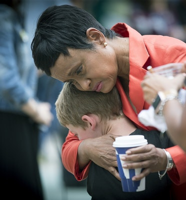 Judge Glenda Hatchett was hugged by Philando Castile supporter Guthrie Morgan, 7, after Geronimo Yanez acquittal