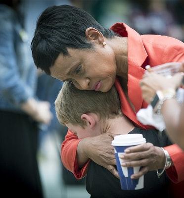Judge Glenda Hatchett was hugged by Philando Castile supporter Guthrie Morgan, 7, after Geronimo Yanez acquittal