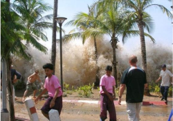 After an earthquake of 9.3 (the third largest ever recorded) occurred in the Indian Ocean, deadly tsunamis hit the coasts of Indonesia, India, Sri Lanka, and Thailand. It's estimated that 280,000 people lost their lives -- the deadliest in modern history.