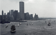 On July 4th, 1976, the United States of America celebrated their bicentennial. That morning, a photographer captured the boats (including some historic-looking vessels!) in Hudson Bay, overlooking New York City.