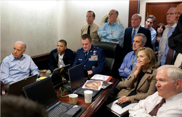 This is one of the most iconic photos of Obama's presidency. He and his team sit in the Situation Room, watching the 2011 Navy SEAL operation to take out Osama bin Laden. The mission was successful.