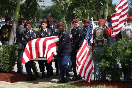 Military honor guards carry the casket of U.S. Army Sgt. La David Johnson during his burial service at the Memorial Gardens East cemetery on October 21, 2017 in Hollywood, Florida. Sgt. Johnson and three other American soldiers were killed in an ambush in Niger on Oct. 4. (Photo by Joe Raedle/Getty Images)