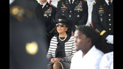 Frederica Wilson (D-FL) attends the burial service for U.S. Army Sgt. La David Johnson at the Memorial Gardens East cemetery on October 21, 2017 in Hollywood, Florida. Sgt. Johnson and three other American soldiers were killed in an ambush in Niger on Oct. 4. (Photo by Joe Raedle/Getty Images)