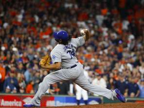 Los Angeles Dodgers relief pitcher Kenley Jansen (74) pitches during the ninth inning of Game 4 of the World Series at Minute Maid Park on Saturday, Oct. 28, 2017, in Houston.