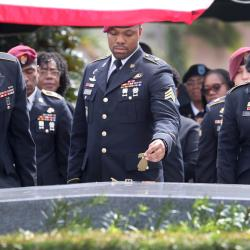 Members of the 3rd Special Forces Group cry at #SgtLaDavidJohnson casket during his burial service in Hollywood, Fla.