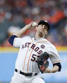 Houston Astros relief pitcher Ken Giles (53) pitches during the ninth inning of Game 4 of the World Series at Minute Maid Park on Saturday, Oct. 28, 2017, in Houston.