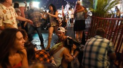 People run for cover at the Route 91 Harvest country music festival (David Becker/Getty)