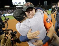 Houston Astros' Jose Altuve and Alex Bregman celebrate after Game 7 of baseball's World Series against the Los Angeles Dodgers Wednesday, Nov. 1, 2017, in Los Angeles. The Astros won 5-1 to win the series 4-3. (AP Photo/David J. Phillip)