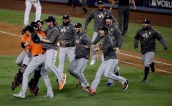 Members the the Houston Astros celebrate their win against the Los Angeles Dodgers in Game 7 of baseball's World Series Wednesday, Nov. 1, 2017, in Los Angeles. The Astros won 5-1 to win the series 4-3. (AP Photo/Jae C. Hong)