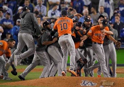 The Houston Astros celebrate after their win against the Los Angeles Dodgers in Game 7 of baseball's World Series Wednesday, Nov. 1, 2017, in Los Angeles. The Astros won 5-1 to win the series 4-3. (AP Photo/Mark J. Terrill)
